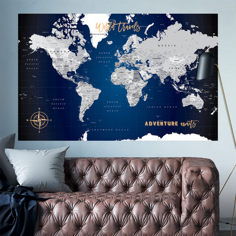 "Navy Canvas World Push Pin Map // 60""W x 40""H"