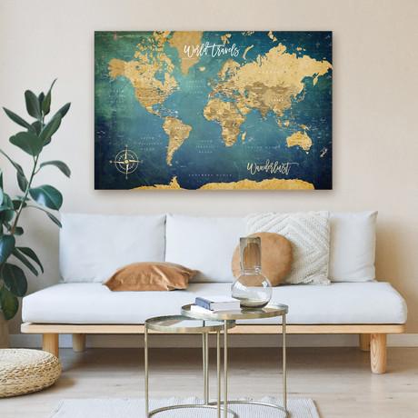 "Modern Blue Canvas World Push Pin Map // 60""W x 40""H"