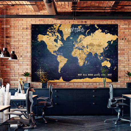 "Antique Canvas World Push Pin Map // 60""W x 40""H"