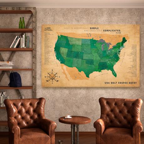 "Classic Golf Canvas Map // 60""W x 40""H"