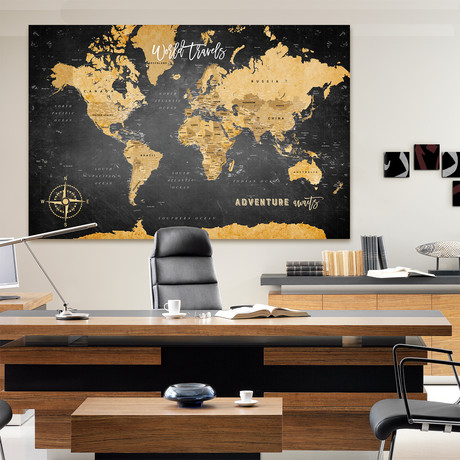 "Canvas World Push Pin Map // Black // 60""W x 40""H"