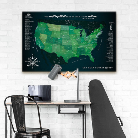 "Modern Golf Canvas Map // 60""W x 40""H"