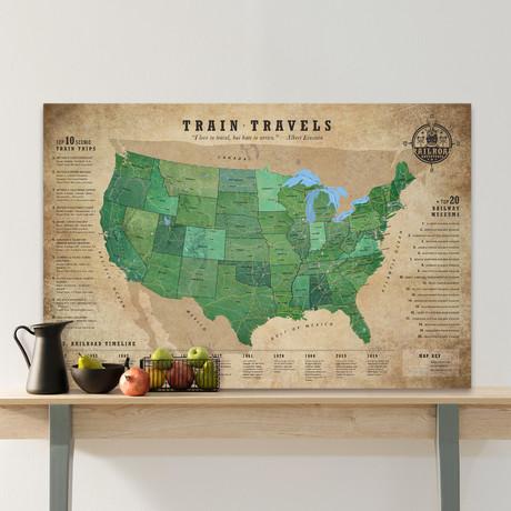 "Classic Railroad Canvas Map // 60""W x 40""H"