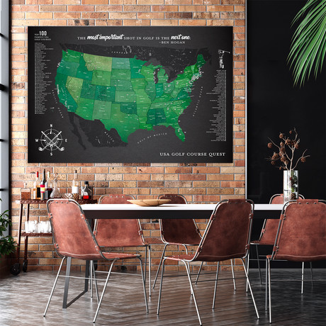 "Modern Golf Canvas Map // Gray (40""W x 30""H)"