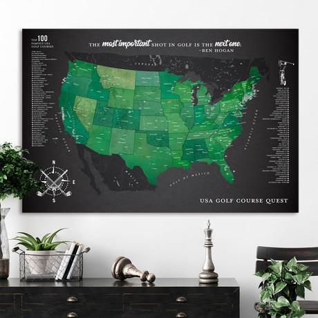 "Modern Golf Canvas Map // Gray // 60""W x 40""H"