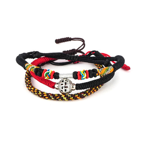 Jean Claude Jewelry // Handmade Tibetan Bracelet // Set of 3 // Multicolor