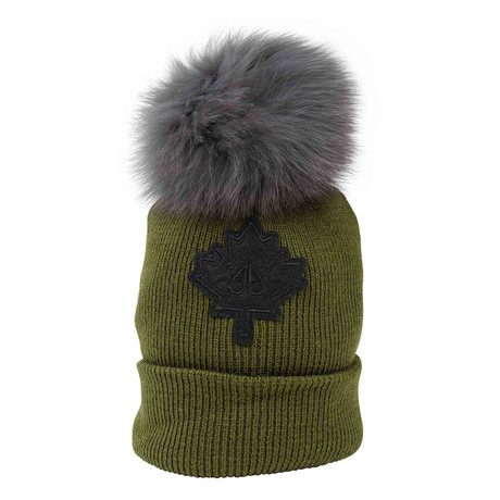 Women's Maple Leaf Beanie // Olive + Gray