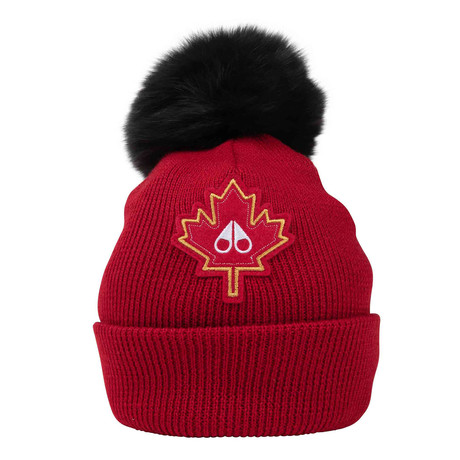 Women's Maple Leaf Beanie // Red + Olive