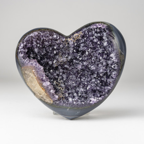 Amethyst Clustered Heart + Acrylic Display Stand // Version 1