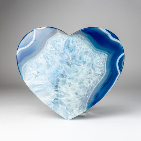 Banded Blue Agate Heart + Acrylic Display Stand // Version 1