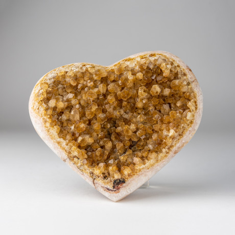 Citrine Clustered Heart + Acrylic Display Stand