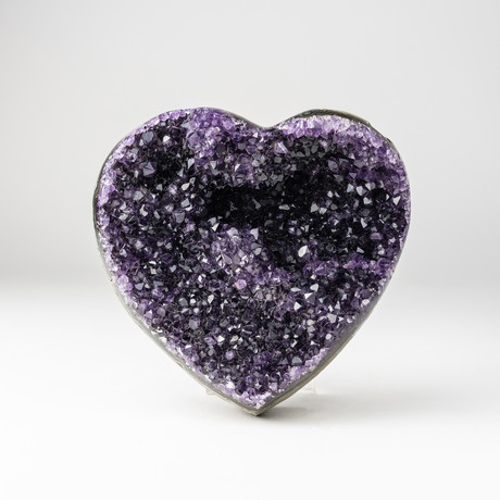 Amethyst Clustered Heart + Acrylic Display Stand // Version 3