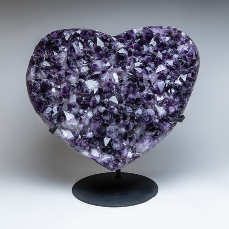 """Amethyst Clustered Heart + Metal Stand // 18.5"""""""