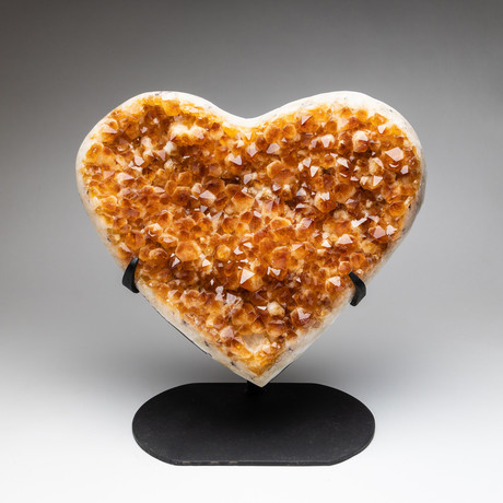 """Citrine Clustered Heart + Metal Stand // 13"""""""