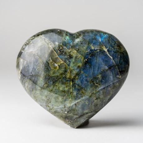 Labradorite Heart + Acrylic Display Stand