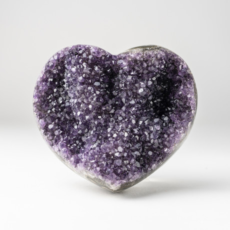 Amethyst Clustered Heart + Acrylic Display Stand // Version 2