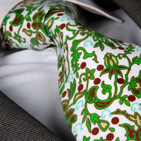 Aratone Silk Tie // White + Green + Brown Flowers