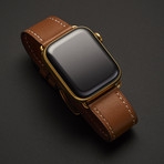24K Gold Plated Custom Apple Watch Series 5 // Brown Leather Band + Gold Plated Buckle // 44mm