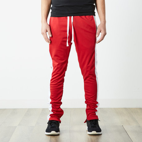 Staple Track Pants // Red + White (S)