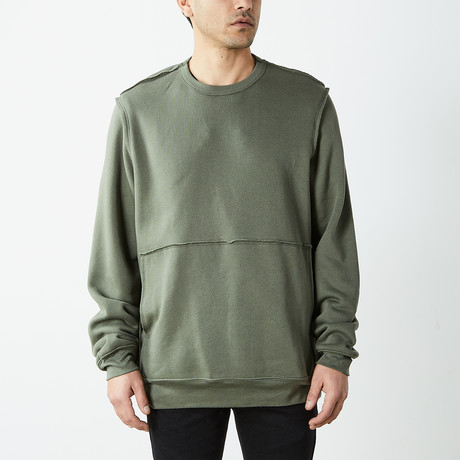 Inside Out Fleece Pullover Sweatshirt // Olive Drab (S)