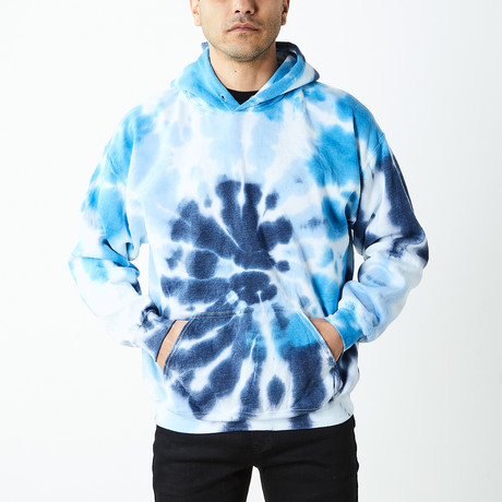 Box Fit Drop Shoulder Hand Dyed Hoodie // Serene Blues (S)