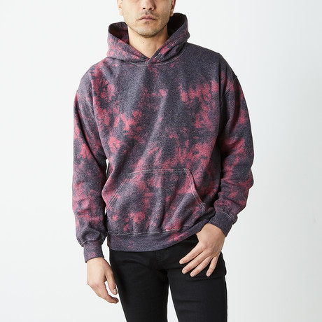 Box Fit Drop Shoulder Hand Dyed Hoodie // Black + Red (S)