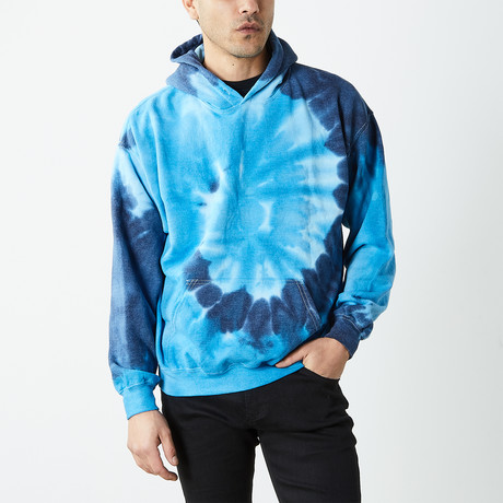 Box Fit Drop Shoulder Hand Dyed Hoodie // Multicolor (S)