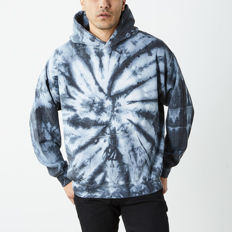 Box Fit Drop Shoulder Hand Dyed Hoodie // Blue Waves (S)