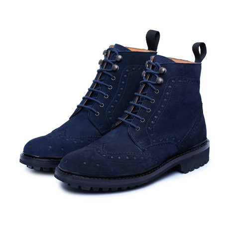 Goodyear Welted Wingtip Brogue Lace Up Boots // Blue (US: 8)