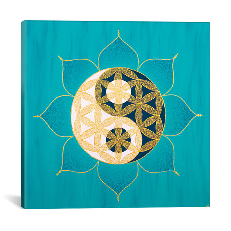 "Yinyang Flower Of Life II // Nadya Al-Haroun (12""W x 12""H x 0.75""D)"