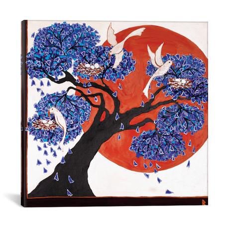 "Bird's Nests In A Jacaranda Tree // Berit Bredahl Nielsen (12""W x 12""H x 0.75""D)"