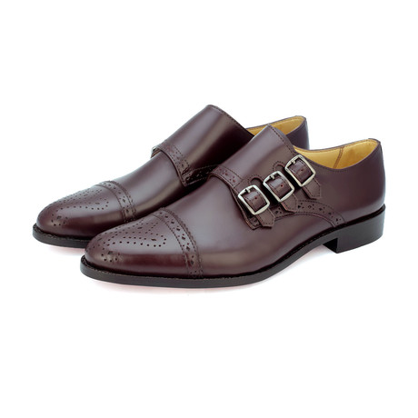 Triple Strap Monk Goodyear Welted // Burgundy (US: 9)