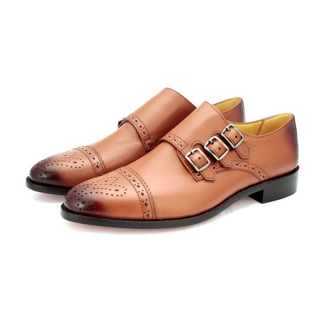 Triple Strap Monk Goodyear Welted // Tan (US: 9)