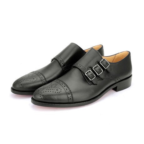 Triple Strap Monk Goodyear Welted // Black (US: 9)