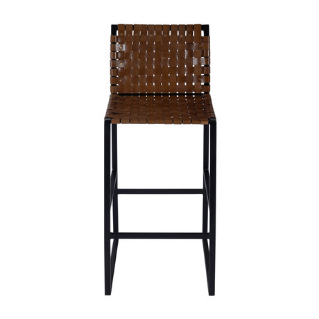 Gifford Woven Leather Bar Stool
