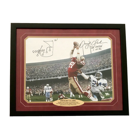 """Dwight Clark // Signed 49ers """"The Catch"""" Photo With Hand Drawn Play"""