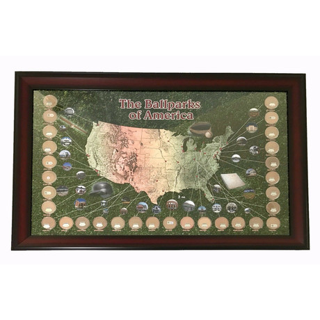 MLB Stadium Dirt Collage // Map With Game Used Dirt From All 30 MLB Teams
