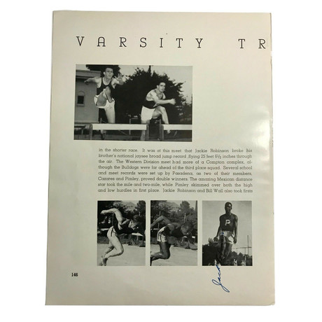 Jackie Robinson // Signed Track & Field Yearbook Page