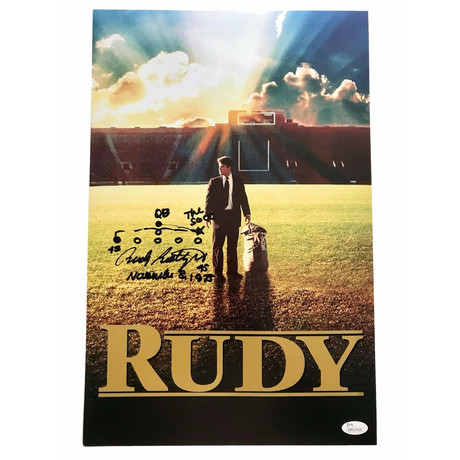 """Rudy Ruettiger // Signed Movie Poster With Hand Drawn """"Sack Play"""""""