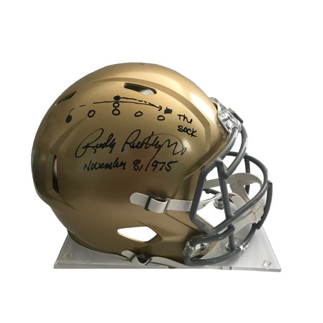 """Rudy Ruettiger // Signed Notre Dame Helmet With Hand Drawn """"Sack Play"""""""