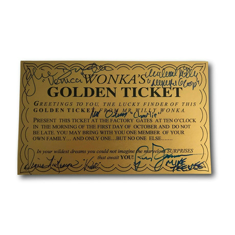 Willy Wonka Golden Ticket // Cast Signed