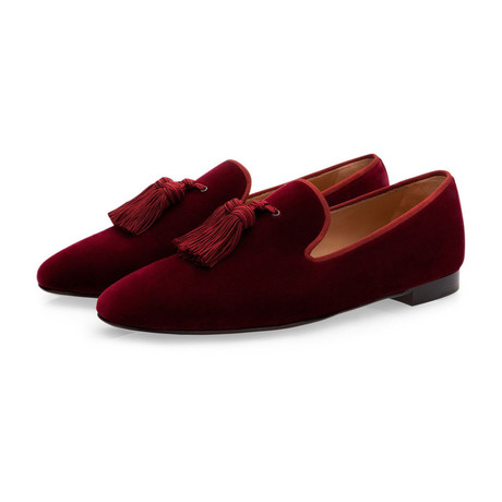 Louis Velour Slippers // Burgundy (Euro: 39)