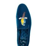 Cabinet De Curiosites 'Le Parroquet' Velour Slippers // Jeans (Euro: 41)