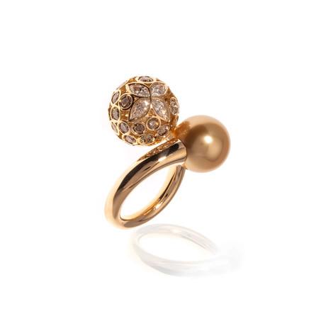 Mikimoto 18k Yellow Gold Diamond + Brown Diamond Statement Ring // Ring Size: 5