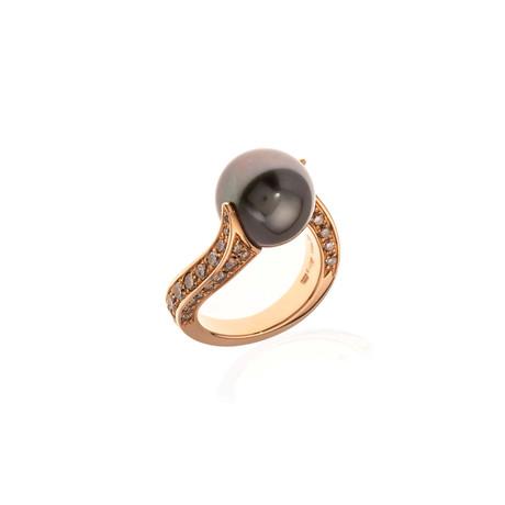 Mikimoto 18k Rose Gold Diamond + Pearl Statement Ring // Ring Size: 6