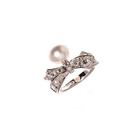 Mikimoto 18k White Gold Diamond + Pearl Statement Ring I // Ring Size: 7