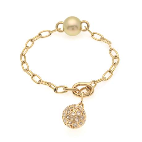 Mikimoto 18k Yellow Gold Diamond + Brown Diamond Link Bracelet