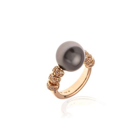 Mikimoto 18k Rose Gold Diamond + Pearl Statement Ring // Ring Size: 5.5