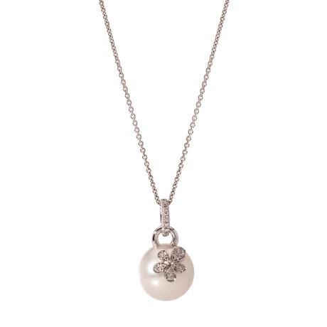 Mikimoto 18k White Gold Diamond + Pearl Statement Necklace I