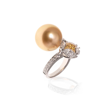 Mikimoto 18k White Gold Diamond + Pearl Statement Ring II // Ring Size: 7